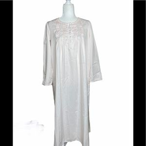 Miss Elaine Pink Satin Embroidered Nightgown Sz. S